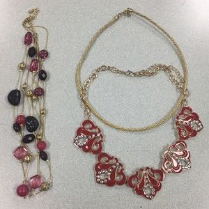Jewelry - Pink, Red and Gold Jewelry Set (3 piece)